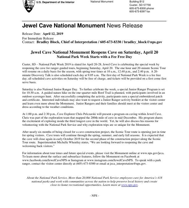 Jewel Cave National Monument Reopens Cave on Saturday, April 20