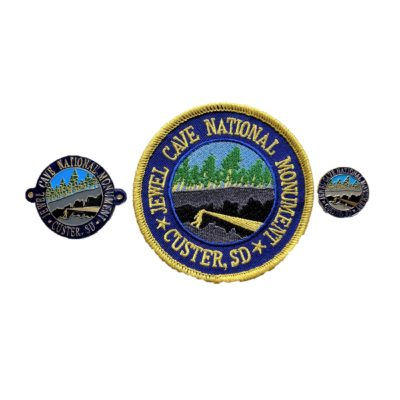 The Jewel Cave Classic Pin, Patch, Hiking Medallion is the original design created for Jewel Cave national Monument.